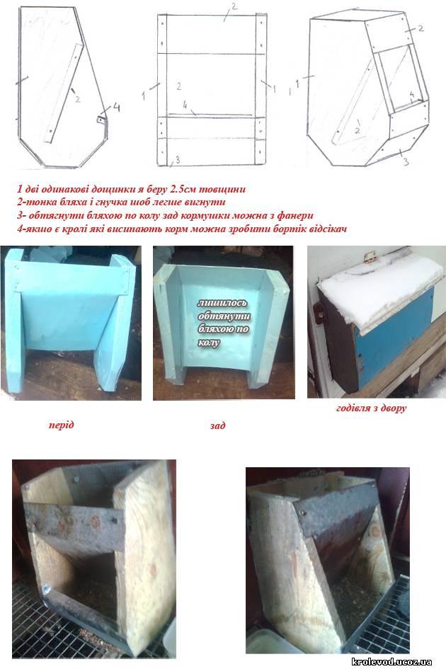 бункерна кормушка для кролів, креслення бункерной кормушки